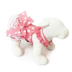 Robe rose poudré avec pois blanc | Petit chienne