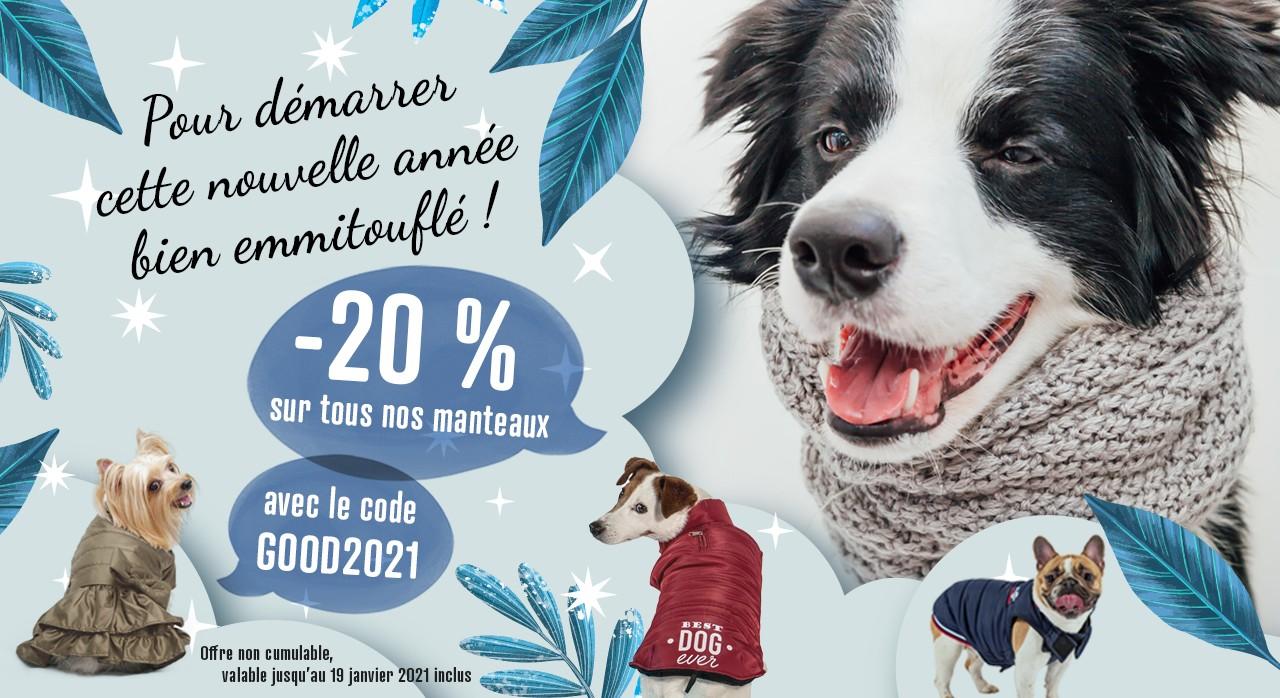-20% sur les manteaux pour chien sur Animania